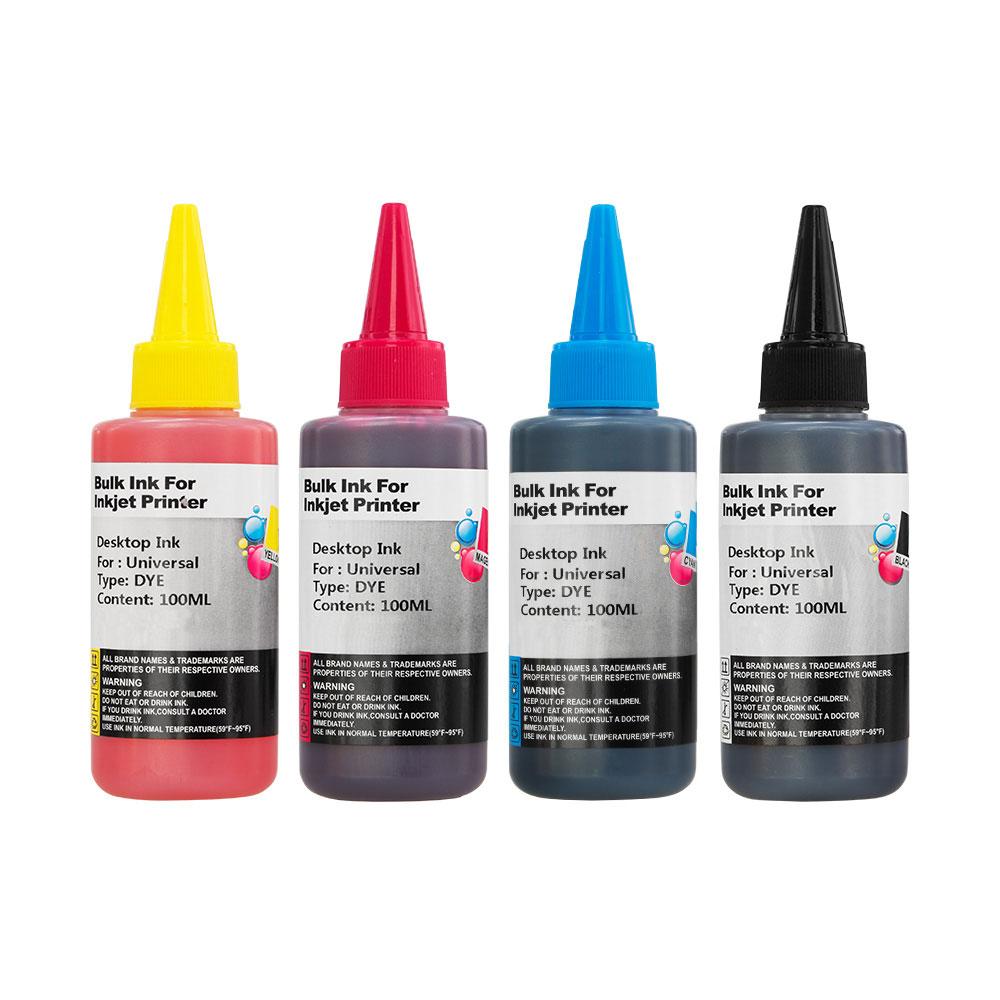 4x 100ml Bottles Universal Dye Printer Ink For Ciss