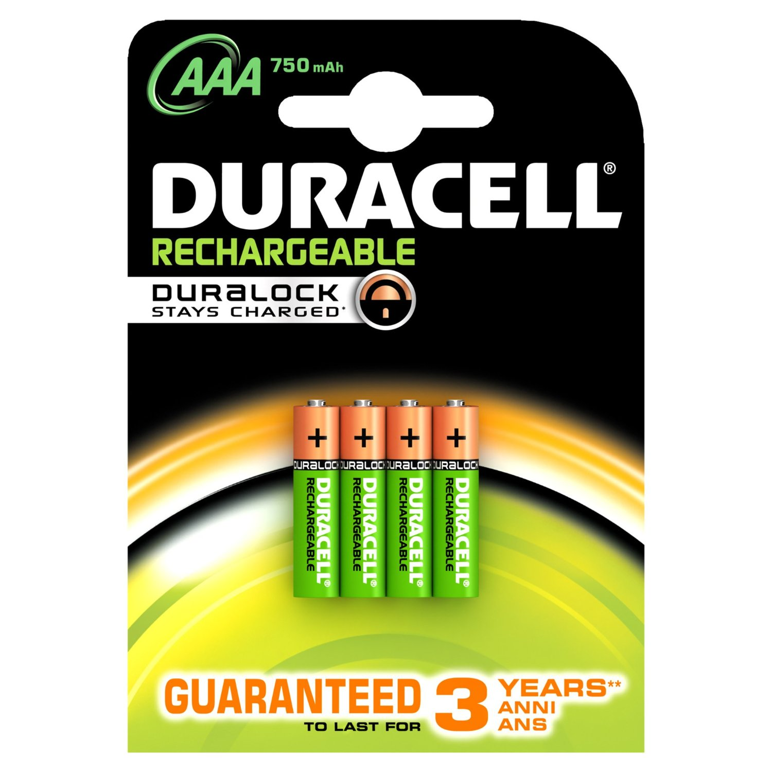 Duracell Rechargeable AAA (HR03  MN2400) NiMh Batteries (750mAh)  4 Pack