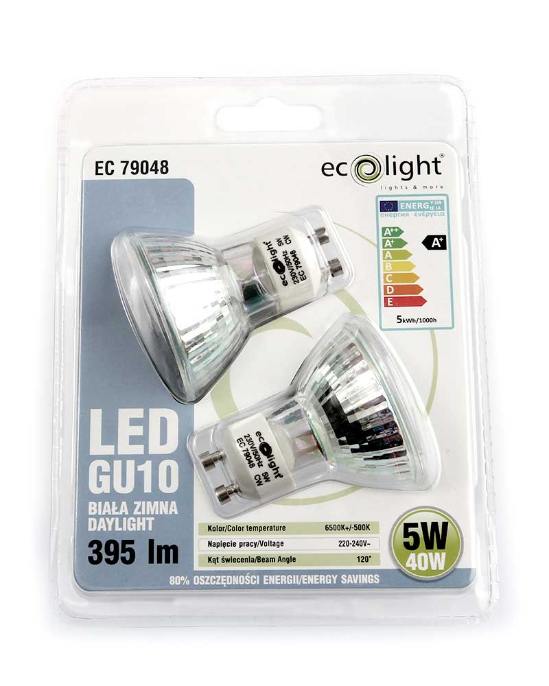Ecolight GU10 LED Spot Light Bulb 5W 40W Equivalent Daylight Non-Dimmable - Value 2 Pack lowest price