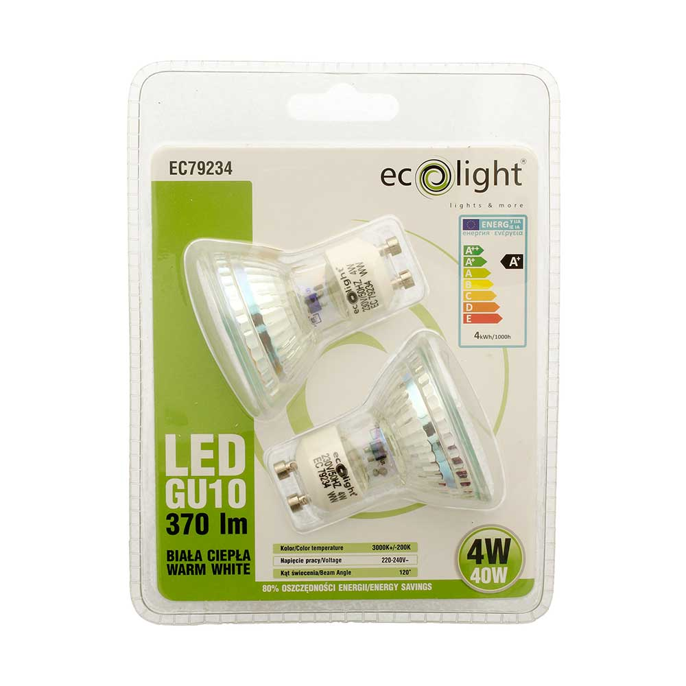 Compare prices for Ecolight GU10 LED Spot Light Bulb 4W 40W Equivalent Non Dimmable Warm White 370 Lumen - Value Twin Pack