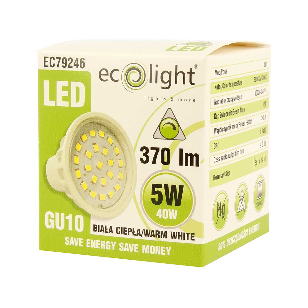 Ecolight GU10 LED Light Bulb 5W 40W Equivalent Dimmable Warm White 370LM lowest price