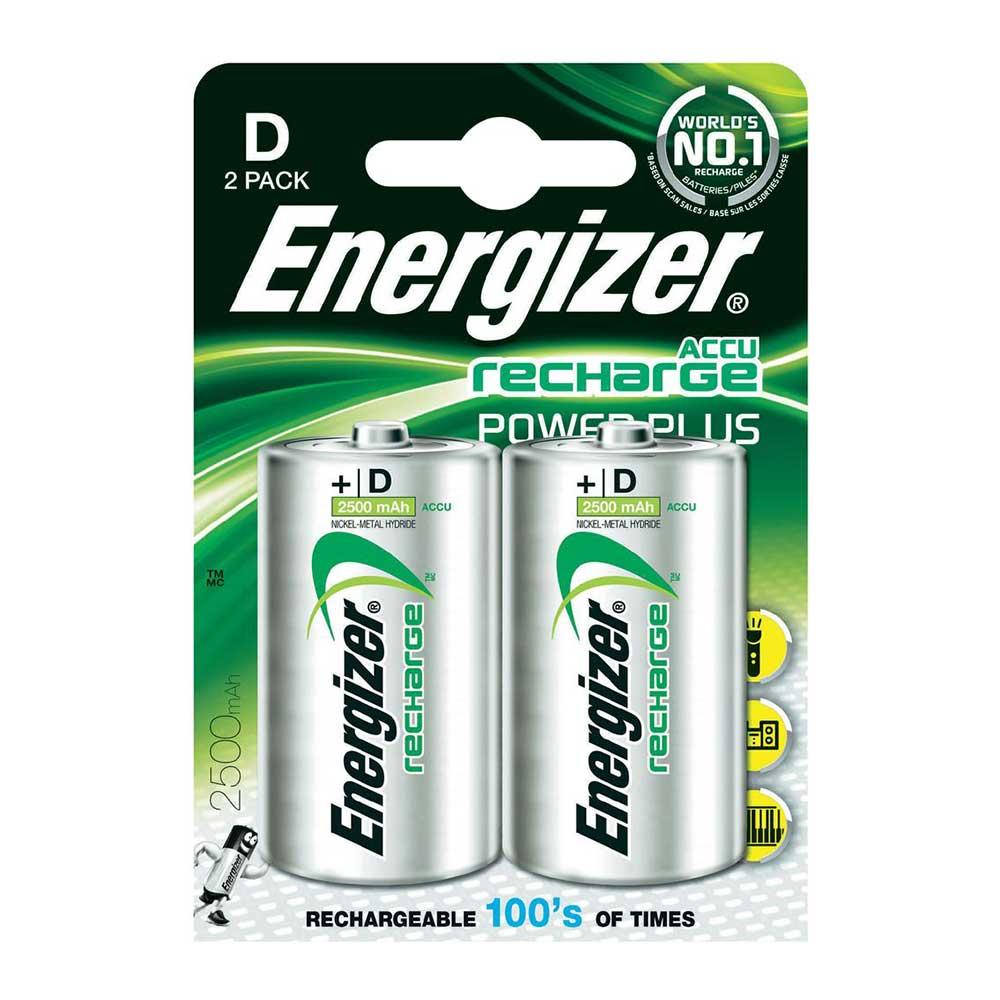 Energizer ACCU LR20 D Cell Rechargeable Batteries NiMH 2500mAh Capacity - 2 Pack
