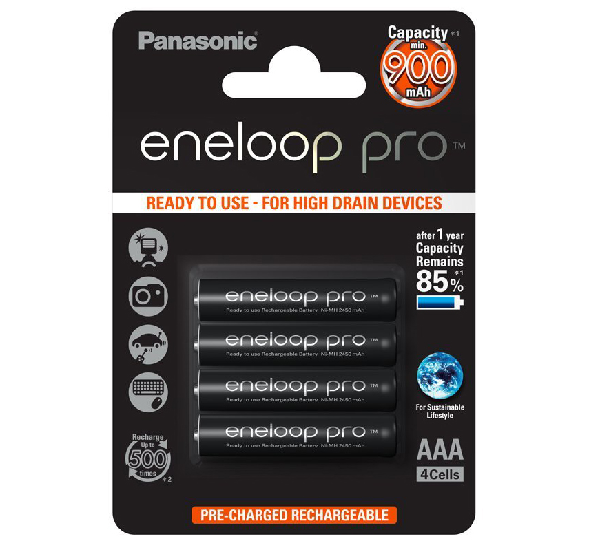 Panasonic Eneloop Pro Rechargeable Ready to use Battery AAA 4 Pack