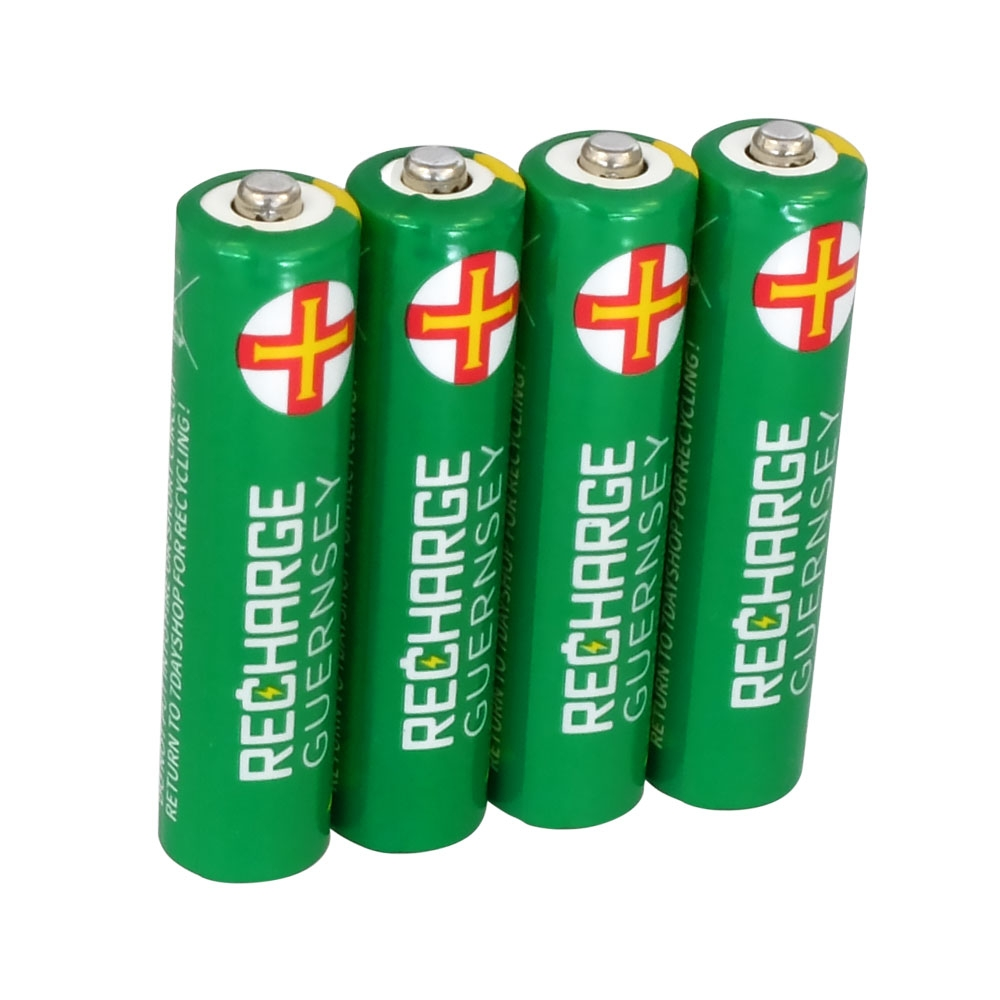 AAA NiMH Rechargeable Batteries - Long Life    Pre-Charged 800mAh Capacity - 4 Pack
