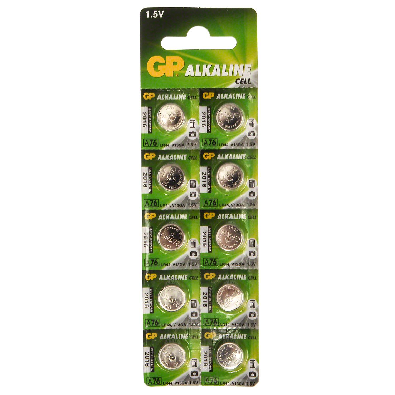 GP LR44 (AG13  SG13  SR44  A76  S76  EPX76) Alkaline Battery  Pack of 10