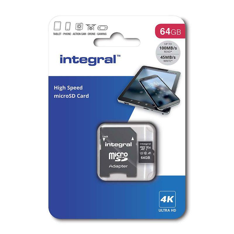 Integral Micro SD Memory Card High Speed SDXC V30 UHS-1 U3 64GB