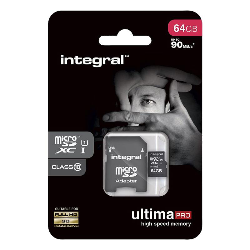 Integral Micro SD Memory Card UltimaPro SDHC/XC 90MB CLASS 10 UHS-I 64GB