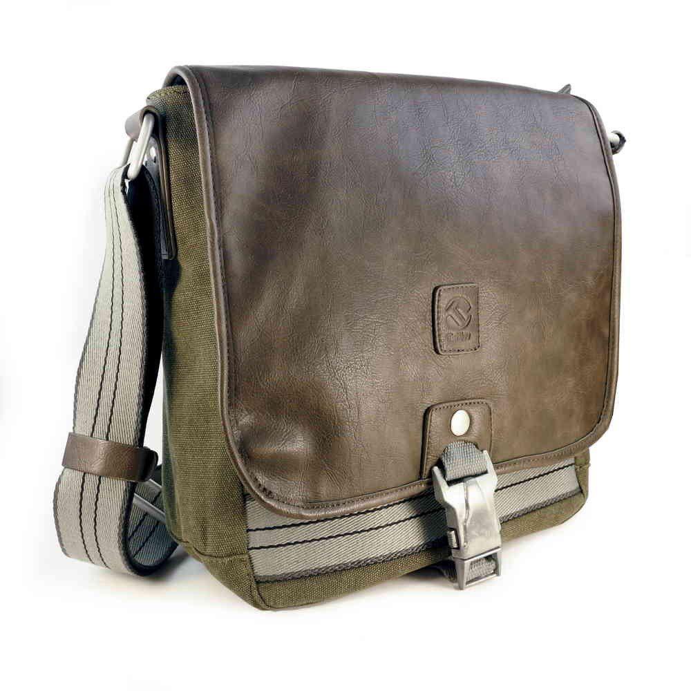Tuff Luv Hitchhiker Canvas  Leather Messenger Shoulder Bag  for 10 Tablet  11 Laptop  Green  Brown