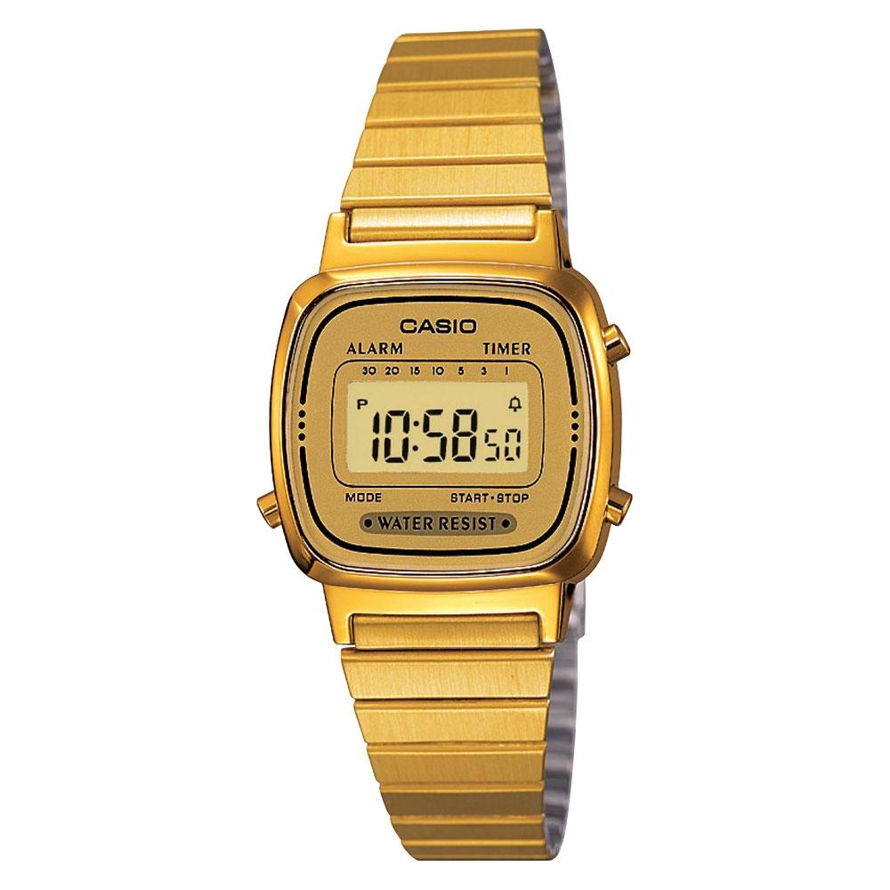 Casio Ladies Digital LCD Watch Chrono Timer Alarm Classic GOLD LA670WEGA-9EF