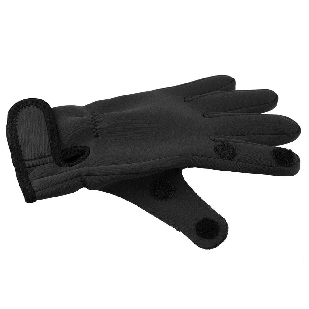 thumbnail 10 - Mens Neoprene Fishing Photography Shooting Fold-Back Finger Gloves - Black