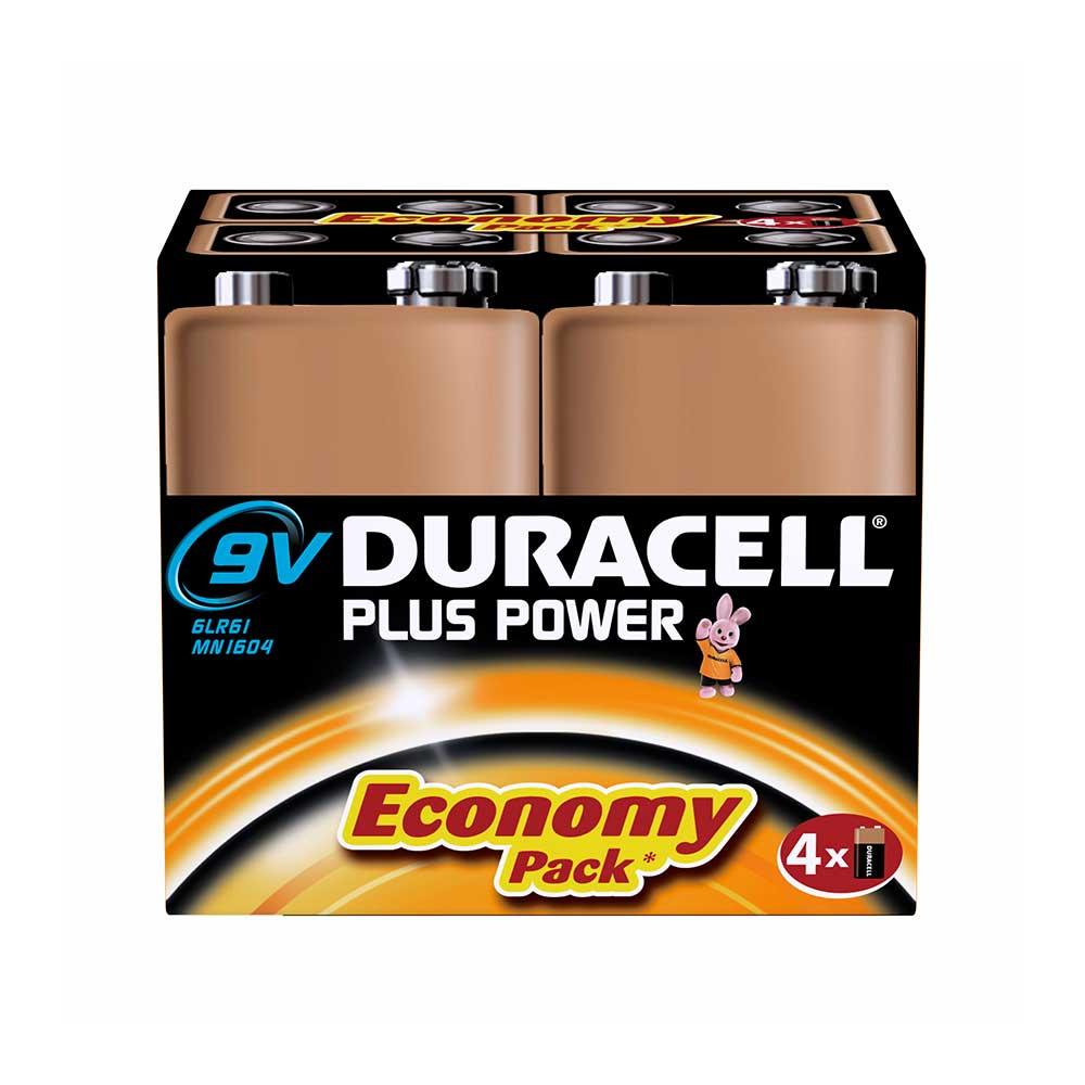 Duracell PLUS POWER 9V (6LR61 / MN1604 / PP3) Alkaline Batteries - Pack of 4
