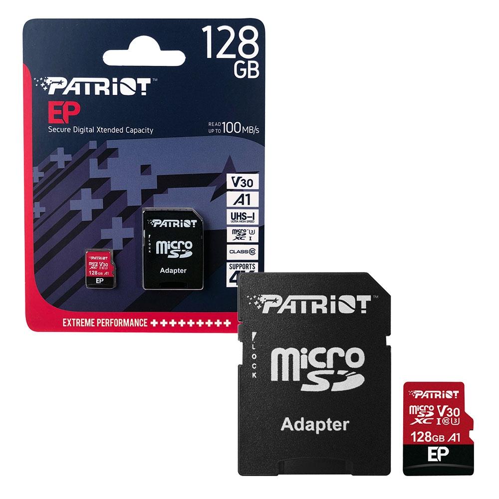 Patriot MicroSDXC Memory Card EP Series A1 V30 100MB/s for HD    4K Video - 128GB