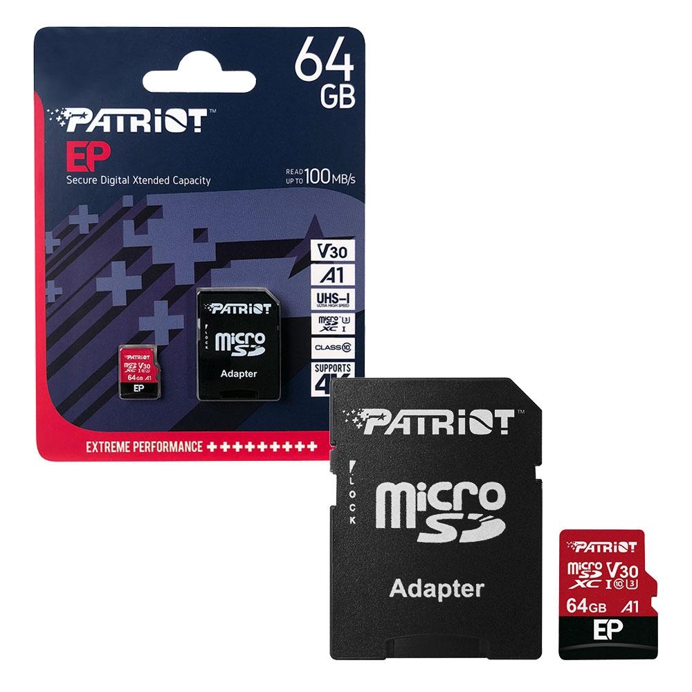 Patriot MicroSDXC Memory Card EP Series A1 V30 100MB/s for HD    4K Video - 64GB