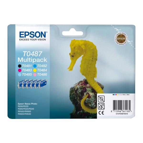 Epson Original T0487 Seahorse 78ml Extra Value 6 Colour Multipack