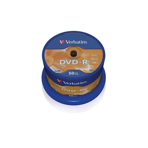 Verbatim DVD-R Matt Silver Discs 4.7GB - 16x Speed - 120min - 50 Pack lowest price