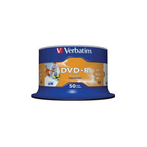 Verbatim DVDR Printable Discs  No ID Brand  4.7GB 120min  50 Pack