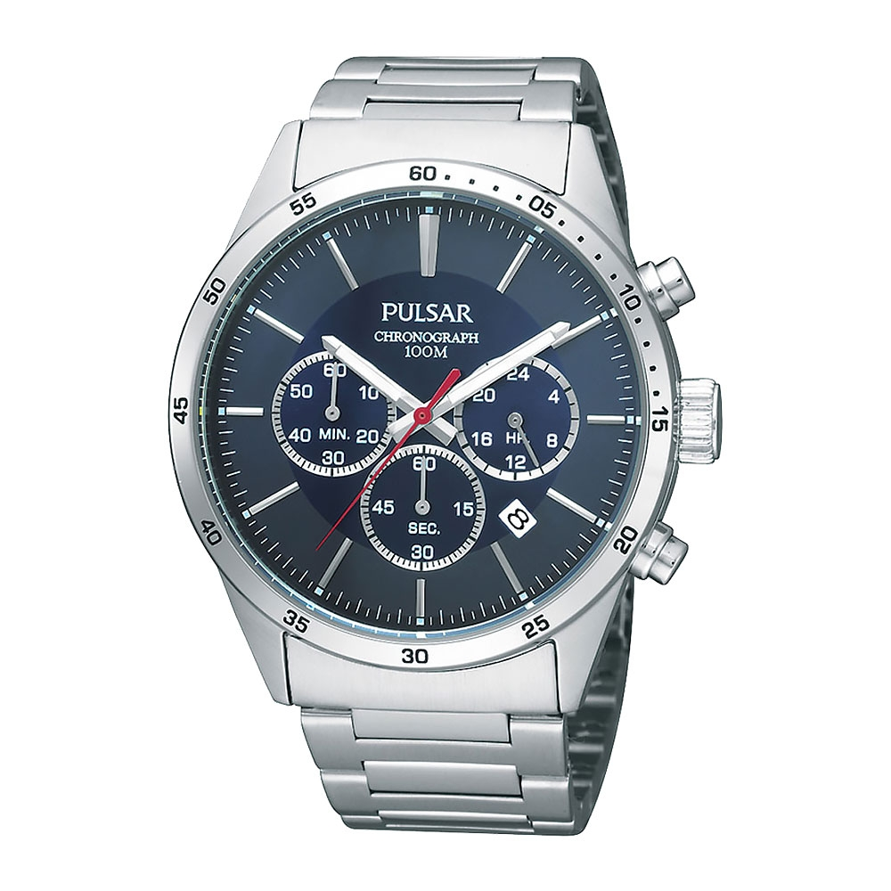 Pulsar Mens Chronograph Stopwatch Stainless Steel 100M Quartz Watch with Date PT3003X1