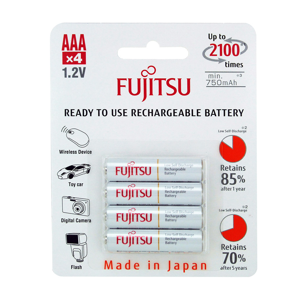 Fujitsu Ready to Use Rechargeable AAA 750mAh Batteries  4 Pack