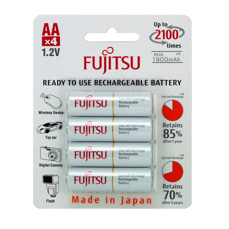 Fujitsu Ready to Use Rechargeable AA 1900mAh Batteries  4 Pack