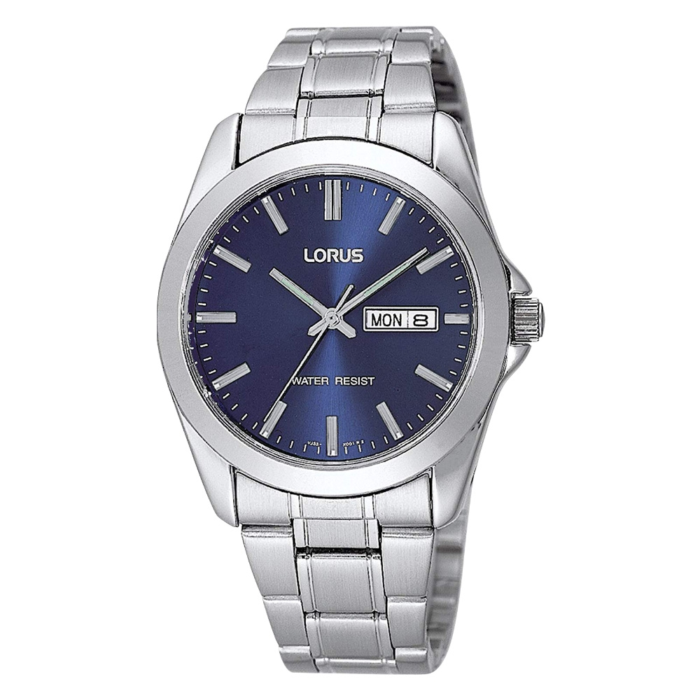 Lorus Classic Blue Dial Stainless Steel Bracelet Gents Watch with Day    Date Model RJ603AX9
