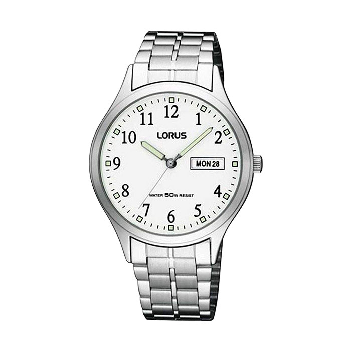 Lorus Mens Watch Classic White Dial Stainless Steel with Day and Date Model RXN91BX9