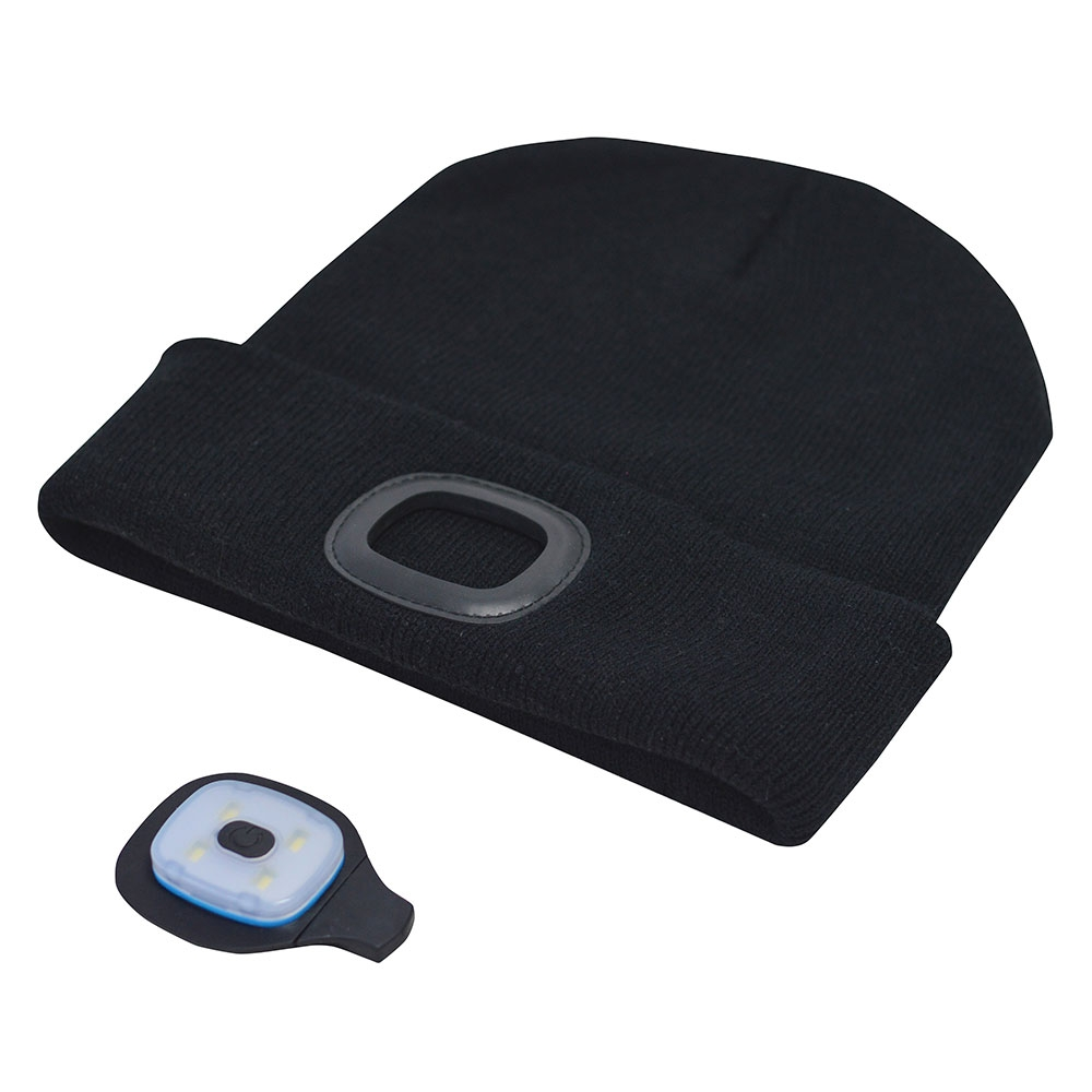56de237f2bb Amtech Beanie Hat with Built-in LED Headlight Head Torch - USB Rechargeable  - Black