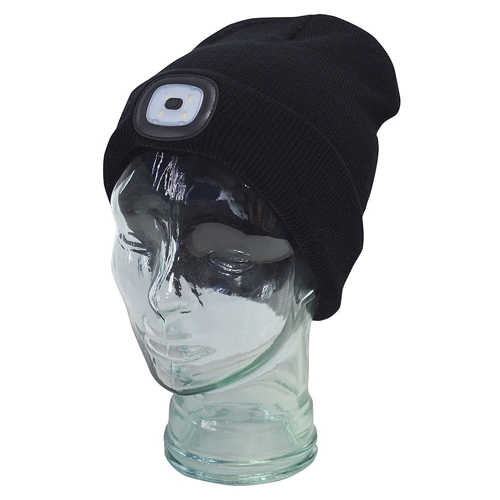 adf50dc8899 Amtech Beanie Hat with Built-in 60LM LED Headlight Head Torch - USB ...