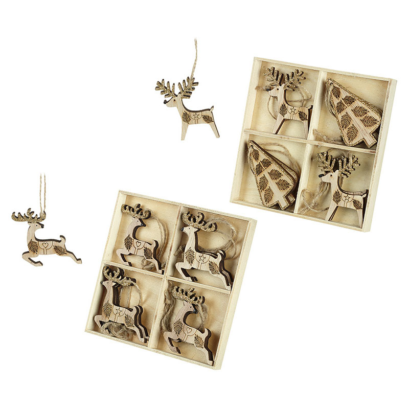 Gifts Wooden Christmas Tree Decorations - Reindeers & Trees With Gold Glitter x 16