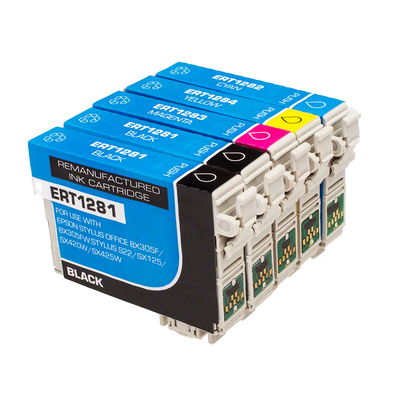 Remanufactured Epson T1285 Fox 19ml Extra Value 5 Cartridge Multipack