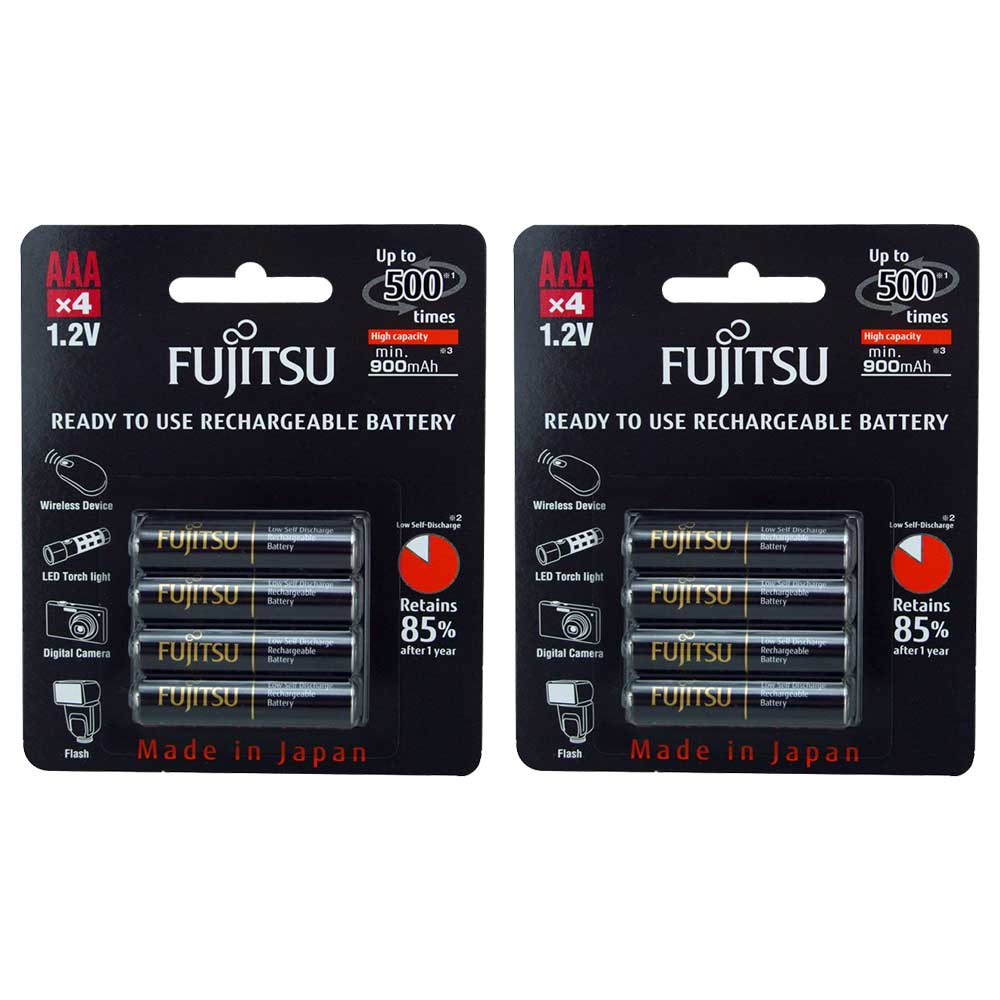 8x pack fujitsu aaa hr03 nimh rechargeable aaa batteries 900mah ready to use ebay. Black Bedroom Furniture Sets. Home Design Ideas
