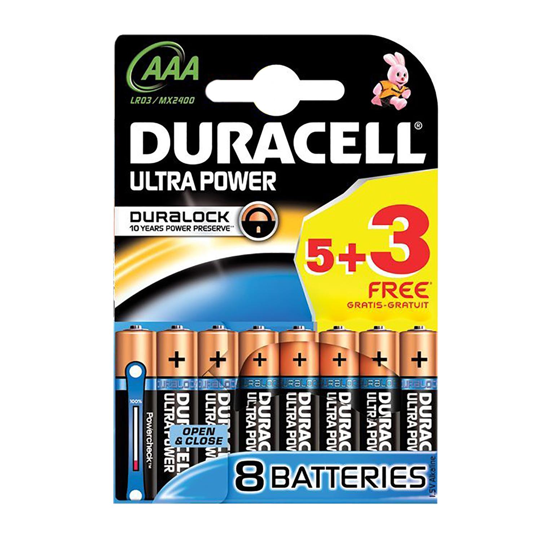 Duracell ULTRA POWER AAA (LR03  MX2400) Alkaline Batteries  Pack of 8 (5  3 Free)