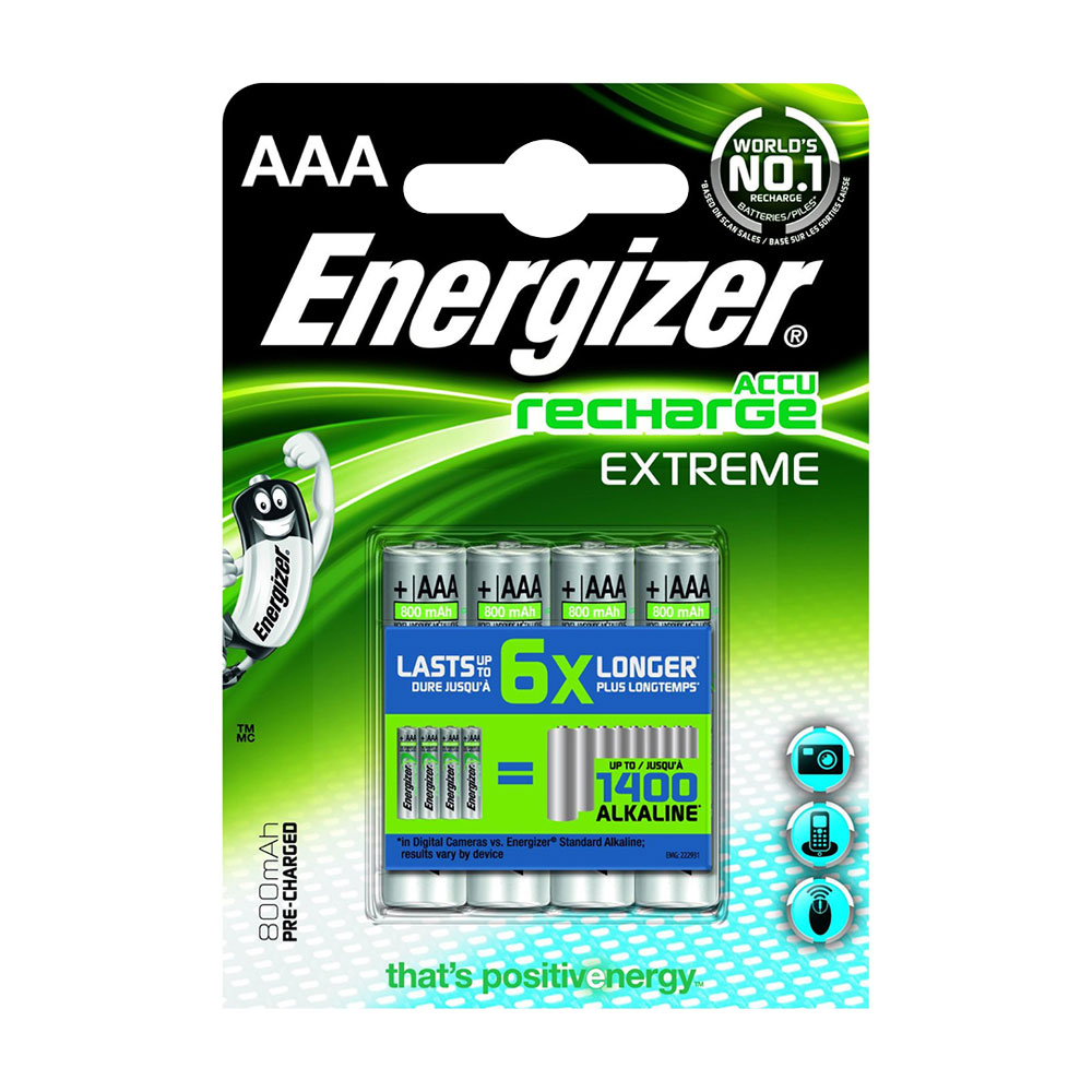 Energizer AAA Rechargeable Batteries NiMH ACCU Extreme 800mAh Capacity - 4 Pack