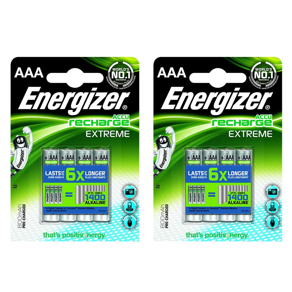 8 pack energizer accu extreme aaa hr03 mn2400 nimh rechargeable batteries 800mah. Black Bedroom Furniture Sets. Home Design Ideas
