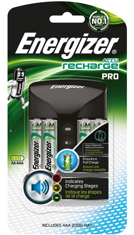 Energizer Intelligent Pro Fast AA and AAA Battery Charger - Complete with 4 x AA 2000mAh Batteries