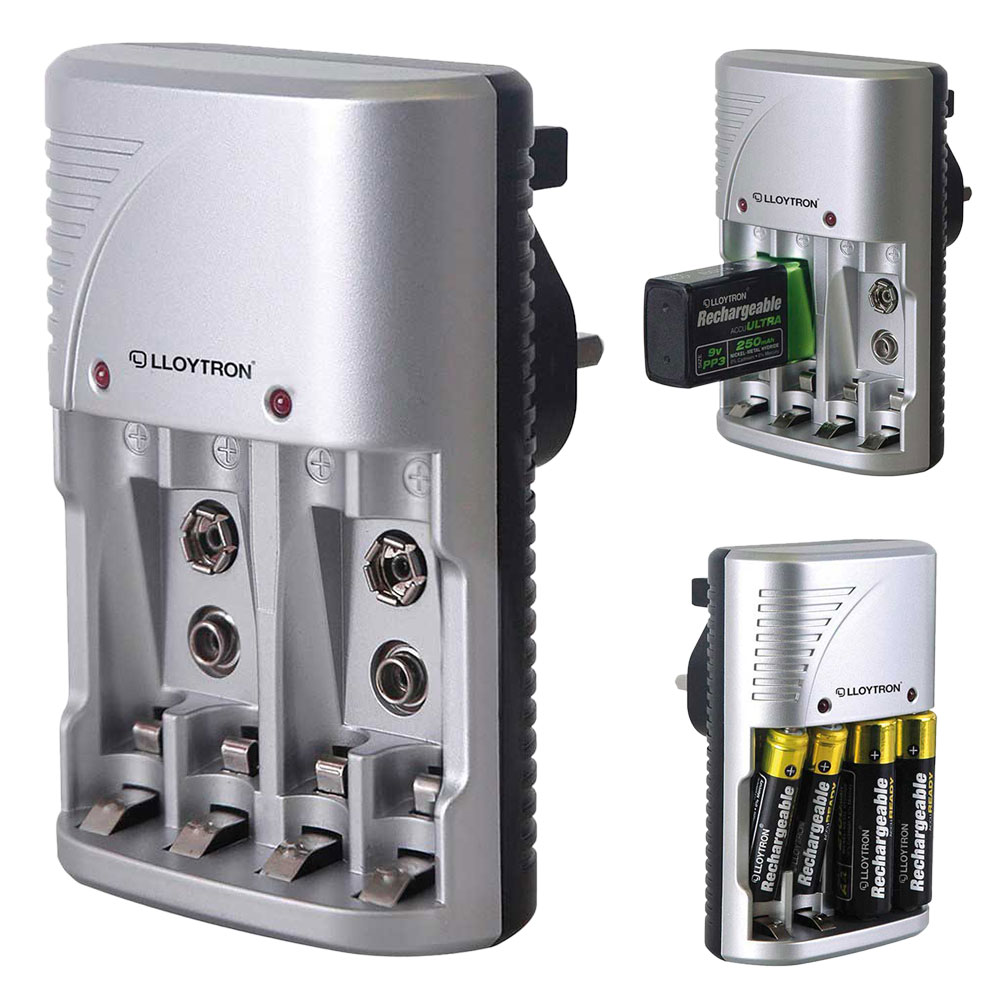 Lloytron Compact AA/AAA+9v Battery Charger for NiMH Batteries