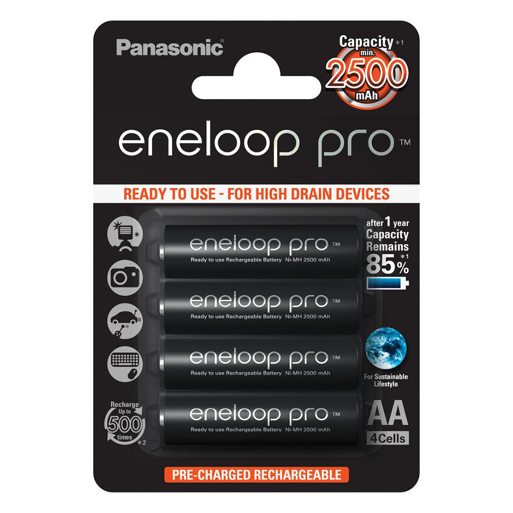 Panasonic Eneloop Pro AA NiMH 2500mAh Rechargeable Batteries - 4 Pack