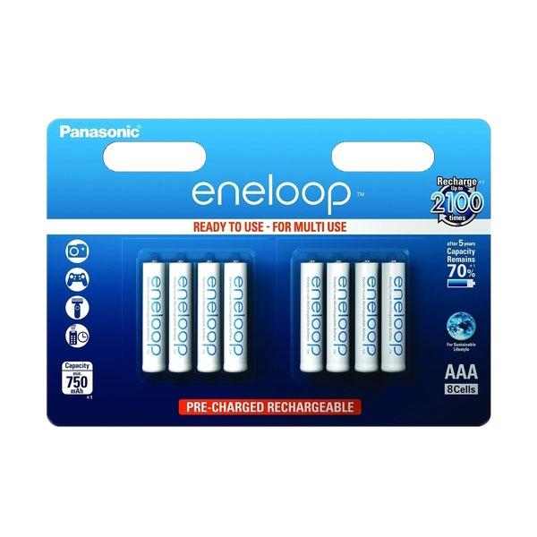 Panasonic Eneloop AAA Rechargeable Batteries NiMH HR03 750mAh Capacity - Value 8 Pack