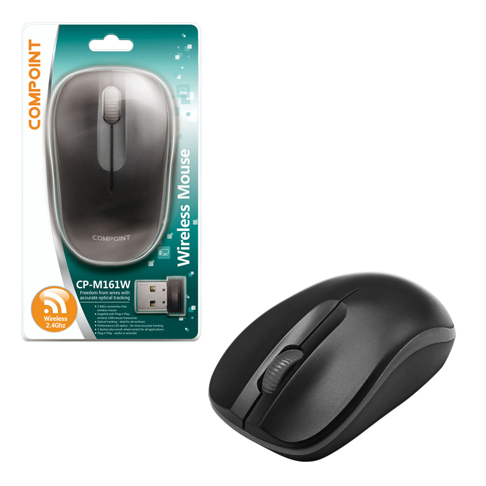 Compare retail prices of ***EOL***Compoint 3 Button Wireless 2.4Ghz Optical Mouse with Nano Adapter Model MW161W - BLACK to get the best deal online