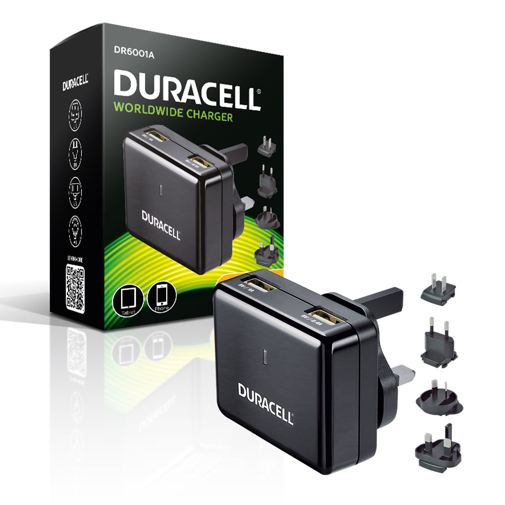 Duracell Mains To Twin Usb High Output 2 4a Travel Charger