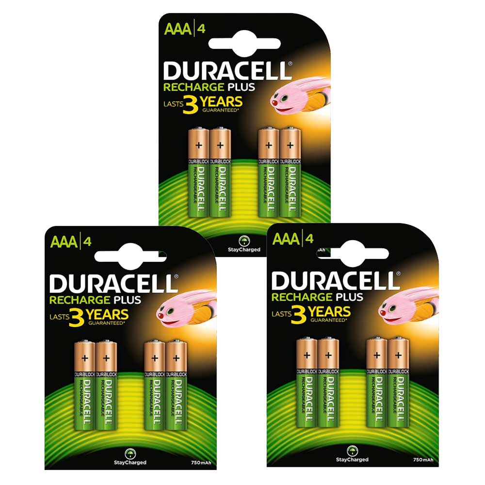 Compare retail prices of Duracell Recharge Plus Stay Charged NiMH Rechargeable AAA HR03 Batteries 750mAh - 12 Pack to get the best deal online