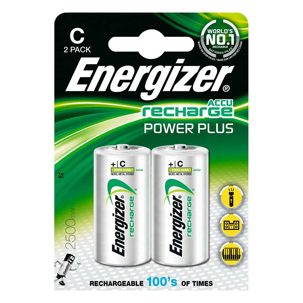 Energizer ACCU LR14 C Cell Rechargeable Batteries NiMH 2500mAh Capacity - 2 Pack