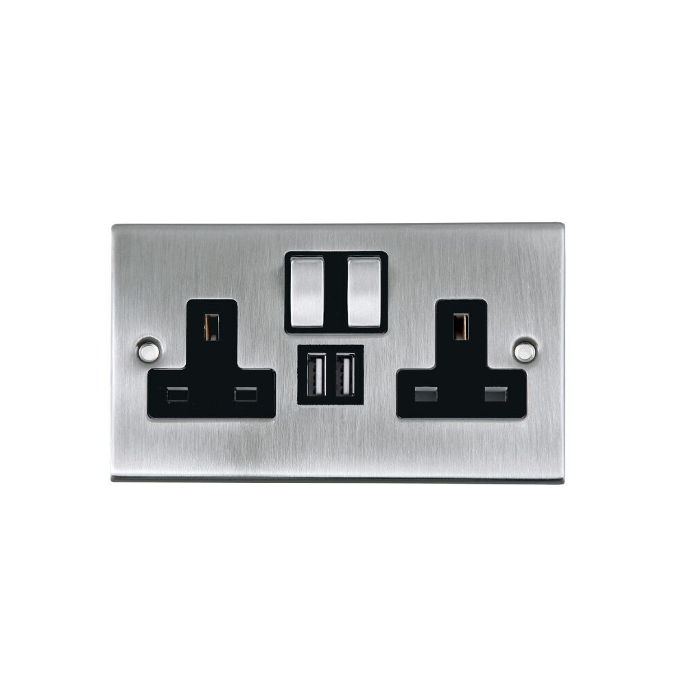 Power Knight 2 Way UK Power Socket With USB Charging Ports Wall Plate - Brushed Chrome lowest price