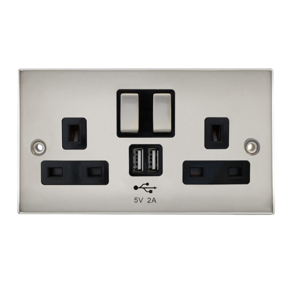 Polished Chrome 2.4A USB Charge 2-Gang Power Wall Socket Face Plate 2 Outlet