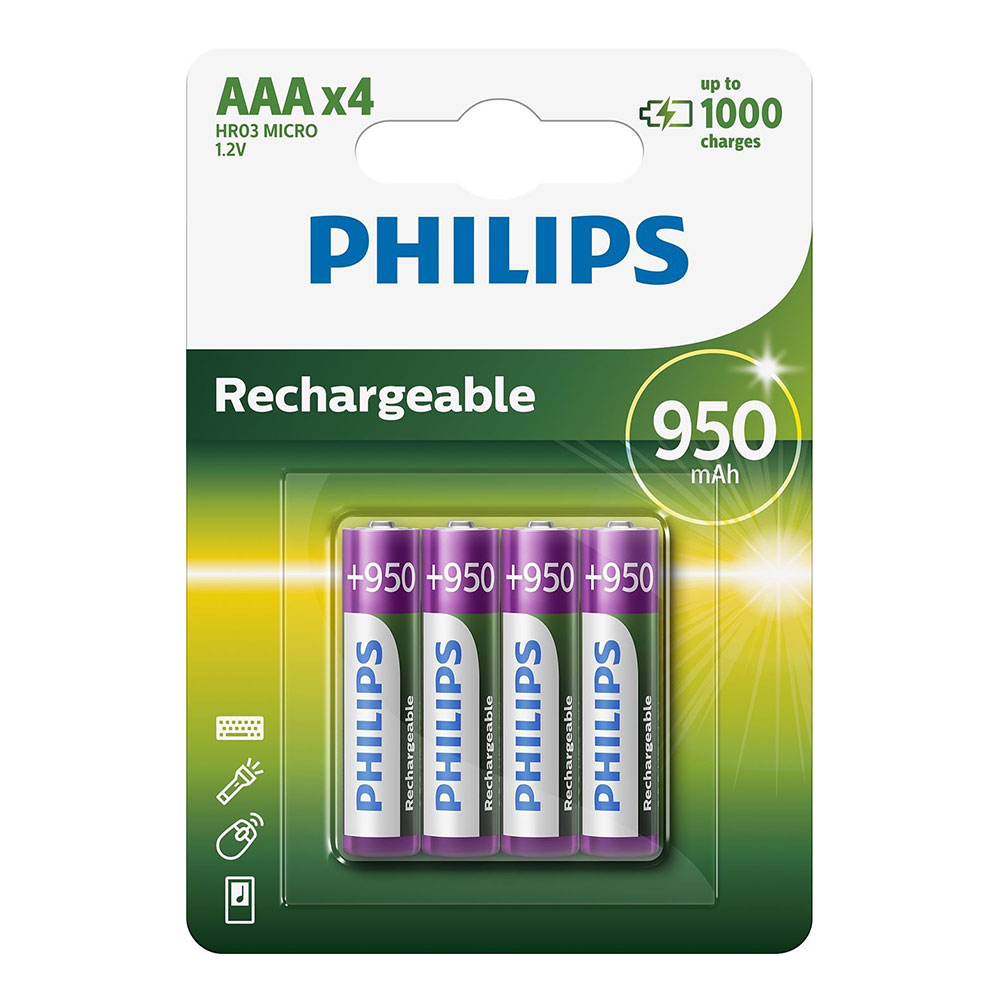 Compare retail prices of ***EOL***Philips AAA HR03 NiMH Rechargeable Batteries 950mAh - 4 Pack to get the best deal online