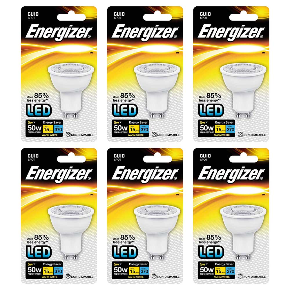 Compare retail prices of ***EOL*** Energizer GU10 LED Spot Light Bulb 5W 50W Equivalent Warm Light Non-Dimmable - Value 6 Pack to get the best deal online