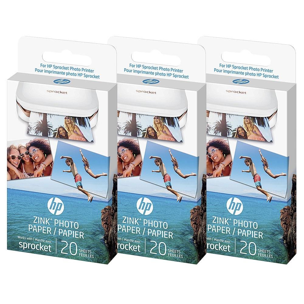 HP Zink Sprocket Sticker Sticky Back Photo Paper 3 Pack Brand New!