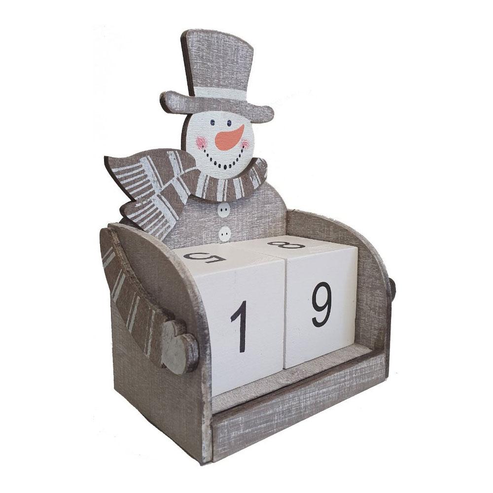 Gifts Nordic Grey Snowman Wooden Block Christmas Calendar